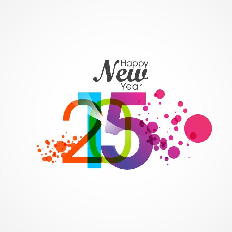 水彩风格2015新年快乐艺术字矢量素材