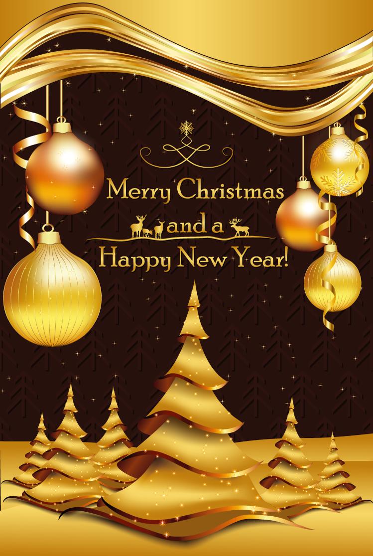 豪华金色圣诞吊球背景矢量素材