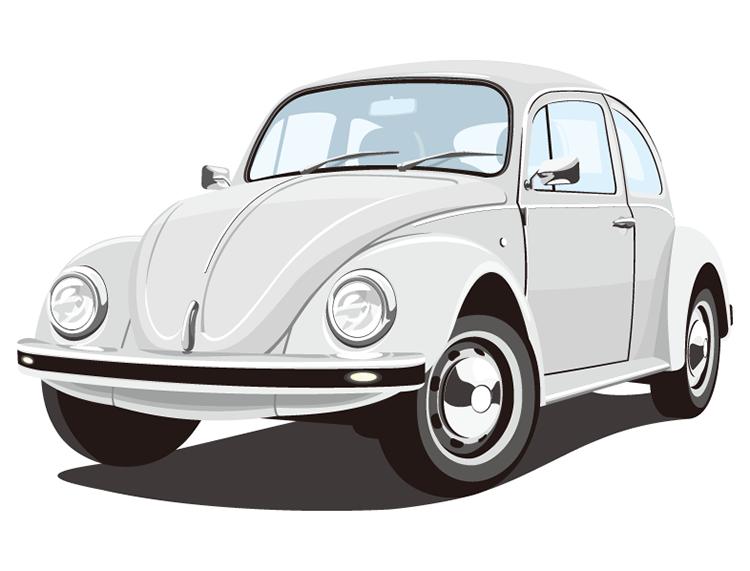 老式甲壳虫汽车矢量素材高清图片