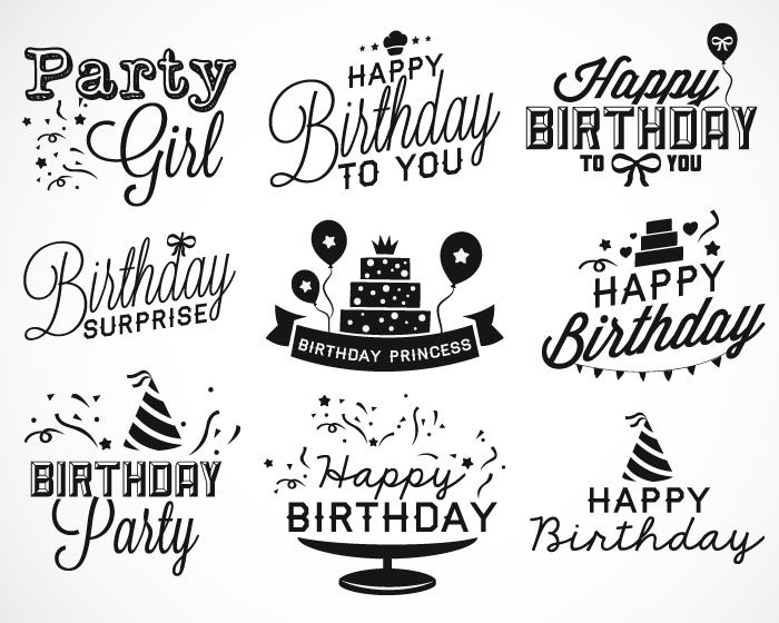 9款生日快樂happy Birthday藝術字矢量素材 设计之家