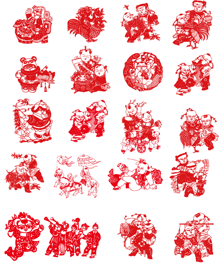 20个中国传统迎福娃娃剪纸矢量素材