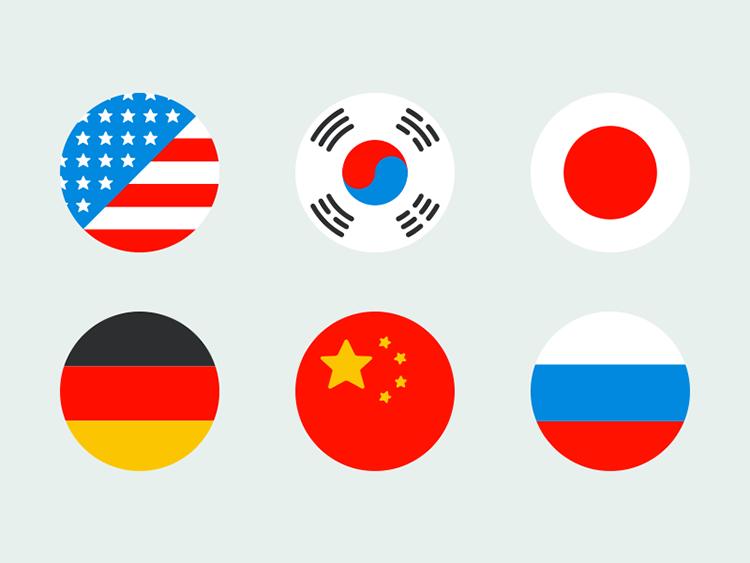 psd格式,国旗,圆形,中国,俄罗斯,德国,日本,韩国,美国,分层素材