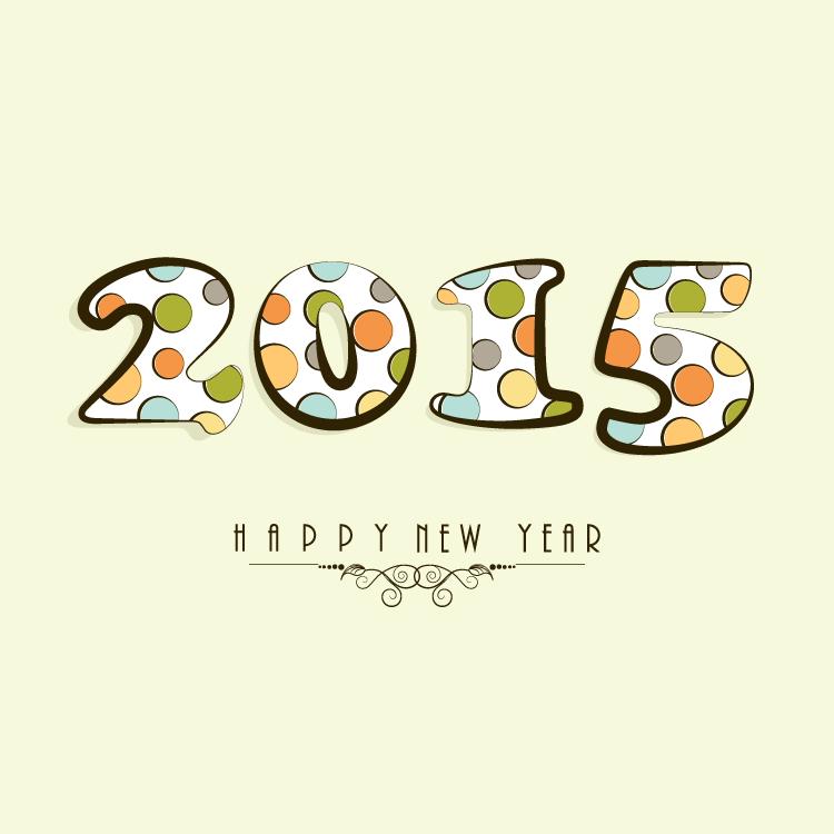 2015彩色斑点艺术字矢量素材