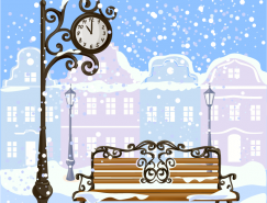 雪中长椅街景矢量素材