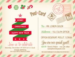 聖誕明信片模板矢量素材