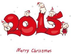 2015卡通绵羊背景矢量素材