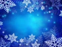 梦幻蓝色雪花背景矢量素材