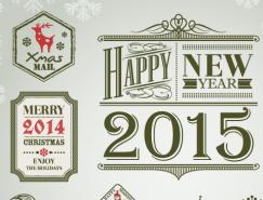 漂亮的聖誕和新年標簽設計矢量素材