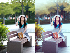 Photoshop將公園長凳上的美女圖片調成秋季