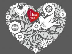 小鳥和花卉組成的浪漫愛心矢量素材
