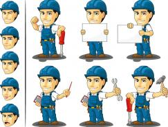 卡通建筑工人矢量素材