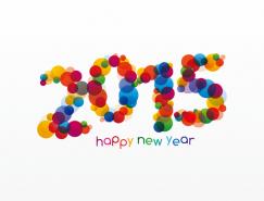 2015彩色叠印圆圈艺术字矢量素材
