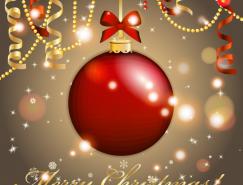 聖誕吊球和彩帶背景矢量素材