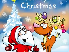 卡通聖誕老人和馴鹿矢量素材
