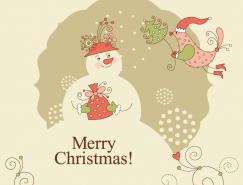 卡通圣诞鸟和雪人背景矢量素材