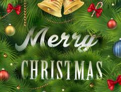 圣诞装饰元素与绿色松枝背景矢量素材