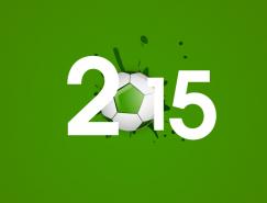 2015足球藝術字矢量素材