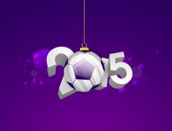 2015足球聖誕吊球藝術字矢量素材