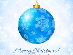 蓝色圣诞吊球雪花背景矢量素材