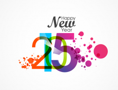 水彩風格2015新年快樂藝術字矢量素材