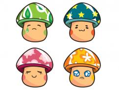 9个卡通蘑菇矢量素材