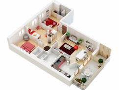 25个三居室户型装修3D布局效果图