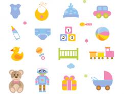 婴儿用品和玩具图标矢量素材