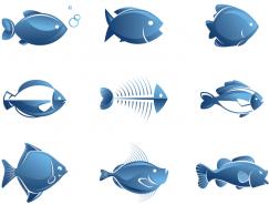 12個藍色魚類矢量素材