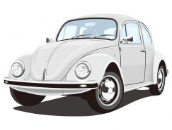 老式甲壳虫汽车矢量素材
