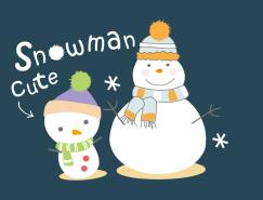 可爱卡通雪人矢量素材(2)