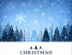 树林圣诞雪花背景矢量素材