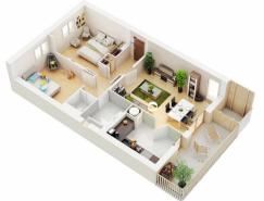 二居室户型装修布局3D效果图欣赏