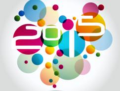 2015艺术字彩色圆形叠印背景矢量素材