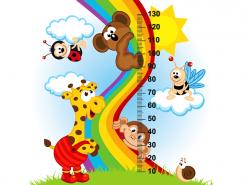卡通动物造型的宝宝身高测量尺矢量素材(3)
