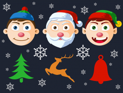 卡通圣诞人物头像PSD素材