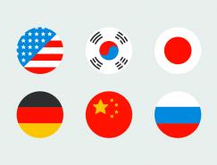 扁平化风格圆形国旗PSD素材