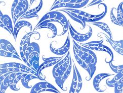 漂亮的蓝色花纹背景矢量素材(2)