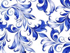 漂亮的蓝色花纹背景矢量素材(3)