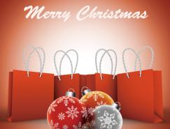 圣诞球和购物袋矢量素材