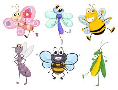 可爱的卡通昆虫矢量素材