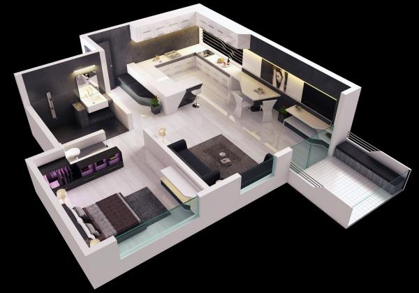 25个一居室户型装修3D布局效果图