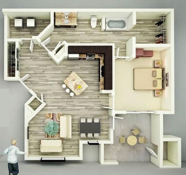 25个一居室户型装修3d布局效果图(2)