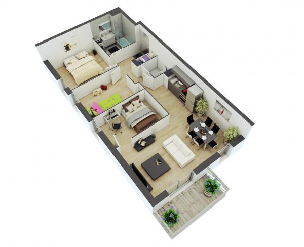 25个二居室户型装修3d布局效果图 - 设计之家