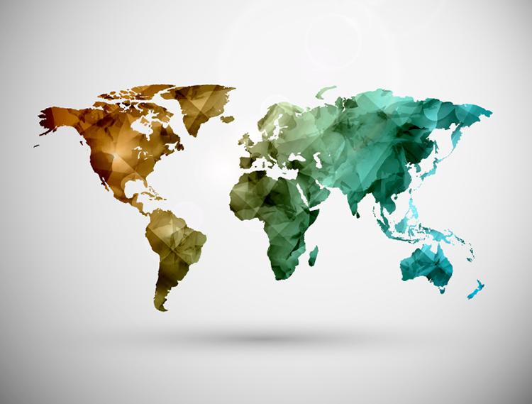 立体几何图案世界地图矢量素材