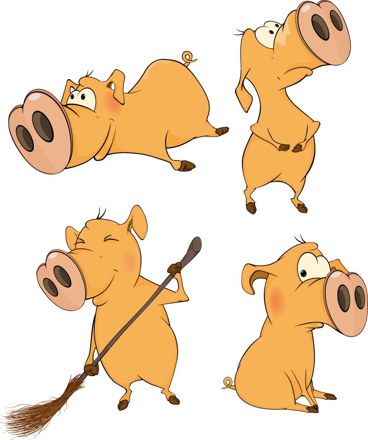 可爱卡通大鼻子猪矢量素材(1)