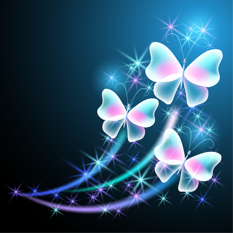 梦幻蝴蝶和光束背景矢量素材(2)