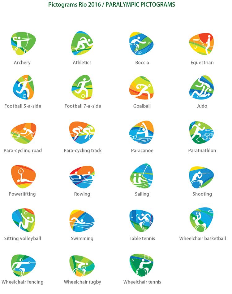 2016里约残奥会运动项目图标矢量素材