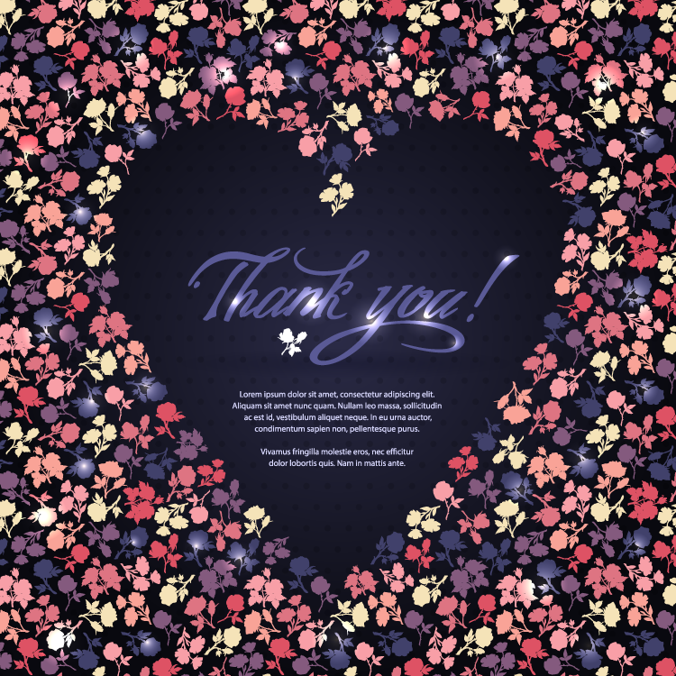 爱心形状的花卉图案背景矢量素材