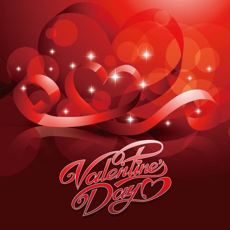 eps格式,情人节,爱心,心形,飘带,红色,光晕,矢量图