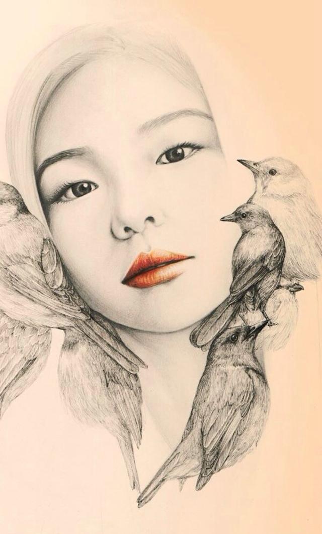 女孩与小鸟:okart铅笔画欣赏